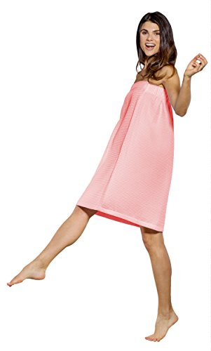 Lightweight Knee Length Spa/Bath Waffle Body Wrap with Adjustable Hook-and-Loop Tape (Small/Medium, Blush)