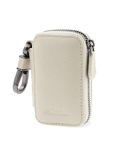 AslabCrew Genuine Leather Car Smart Key Case Chain Keychain Holder Metal Hook and Keyring Zippers Bag for Remote Key Fob, Grain-Ivory