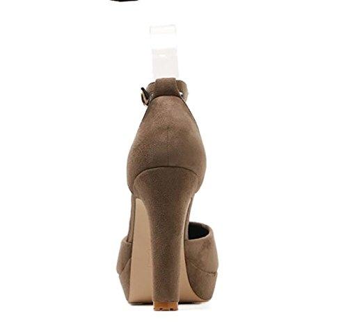 Le De Thirty KHSKX Kaki Et Le Hauts Bouche Buckle Talons En Taiwan Petite L'Automne Avec Épaisse Chaussures Printemps Waterproof Une Daim five Couche Féminins OORBwC