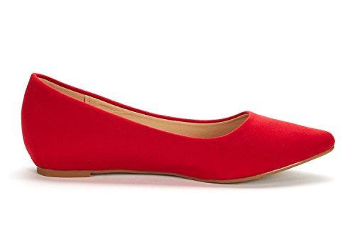 DREAM PAIRS Damen Jilian Low Wedge Wohnungen Schuhe Rotes Wildleder