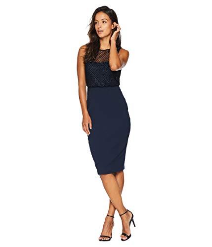 (Adrianna Papell Women's Petite Sleeveless Grid Bead Blouson Bodice with Stretch Crepe Skirt Midnight 16 Petite)