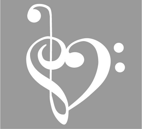 Tuba Clef - Bass and Treble clef heart Decal Sticker - Size:4.0 x 3.2 inches - Color:White