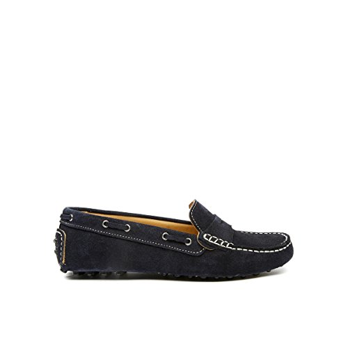 British Passport Mocassino con Decorazione Plain di Colore Blu. Plain Mocassin Navy. Donna.