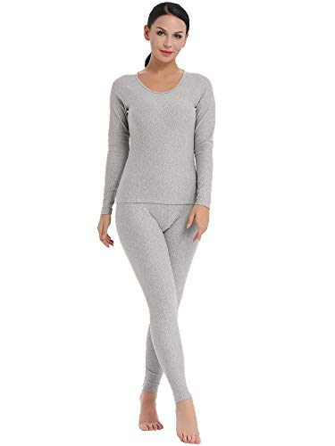 (Amorbella Women's Long Underwear Ultra Soft Thermal Wear Fleece Lined Long Johns (Gray, Medium))