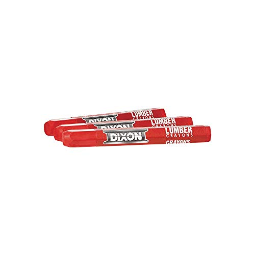 "Dixon Industrial Lumber Marking Crayons, 4.5"" x 1/2"" Hex, Soft-Red, 12-Pack (52012)"