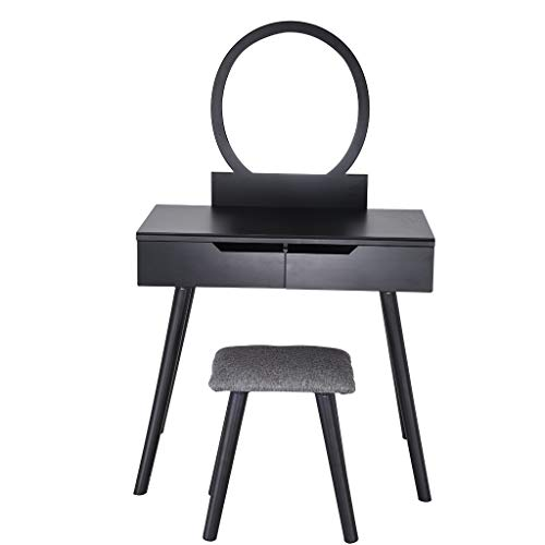 Sonmer Vanity Set with Mirror, Cushioned Stool, Storage Shelves, Drawers Dividers ,3 Style Optional, Shipped from US - Two Day Shipping (#2, Black) by Sonmer (Image #1)