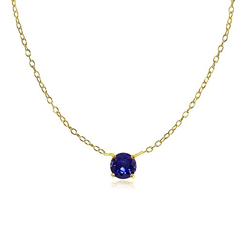 Yellow Gold Flashed Sterling Silver Small Dainty Round Solitaire Created Blue Sapphire Choker Necklace - Round Blue Solitaire Sapphire
