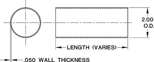 2 Outside Diameter Matte Black KegWorks 8 Foot Bar Hand or Foot Rail Tubing