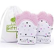 Baby Teething Mitten Self Soothing Teething Mitt, Teething Pain Relief, Smile Teether Toy, Unisex Babies Teething Glove (1 Pair of Pink)