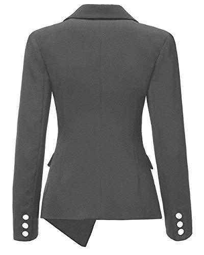 Fit Giubotto Manica Confortevole Slim Bavero Donna Autunno Lunga Suit Solidi Irregular Grau Camicia Outerwear Leisure Breasted Formale Colori Single Business ptBt6z