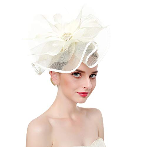 (Fascinators Hat for Women,Tea Party Hat Flower Mesh Hair Clip,Kentucky Derby Wedding Feathers Hair Clip)