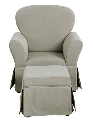 HomePop Youth Skirted Club Chair and Matching Ottoman, Grey (Skirted Stool)