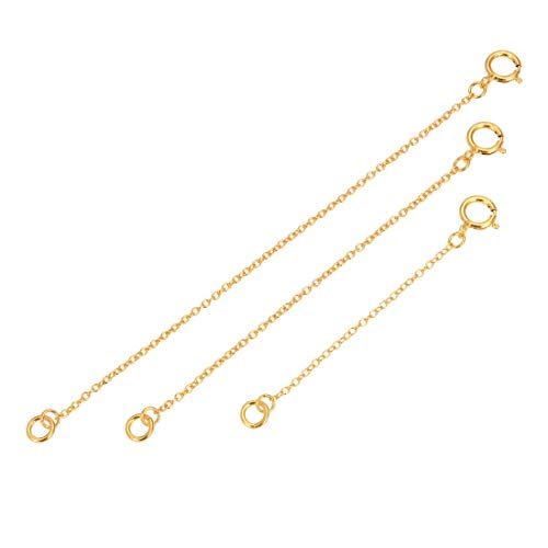 2 Extension Necklace - 1 Set 14k Gold on Sterling Silver Chain Extender Strong Long Lasting - 2