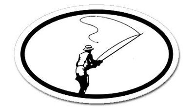 Fly Fishing Oval Sticker, Decal Sticker Vinyl Car Home Truck Window Laptop