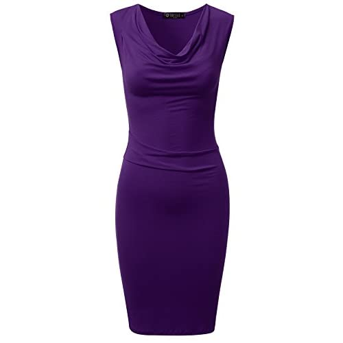 Cheap DRESSIS Womens Knitted Sleeveless Cowl Neck Fitted Dress free shipping