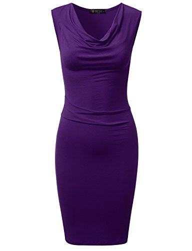 Sheath Cowl - DRESSIS Womens Knitted Sleeveless Cowl Neck Fitted Dress Purple 3XL