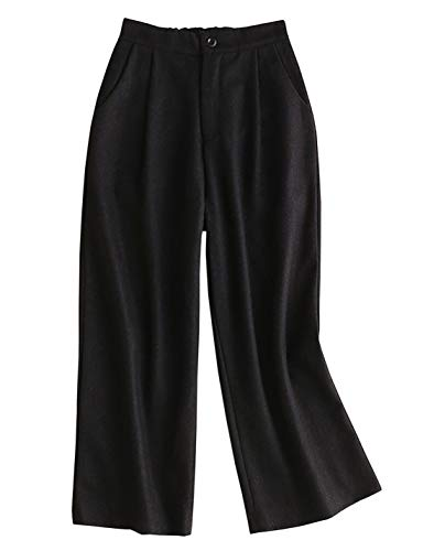 Yimoon Women's Elastic Waist Wide Leg Wool-Blend Pant Woolen Trousers (Black, Small) ()