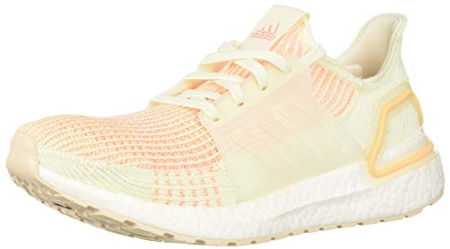 adidas Women's UltraBOOST 19 Running Shoe, Off White/Off White/Glow Orange, 10 M US