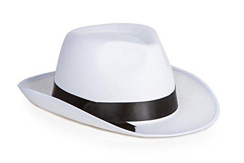 Kangaroo White Felt Gangster Hat   Mobster Fedora Hat