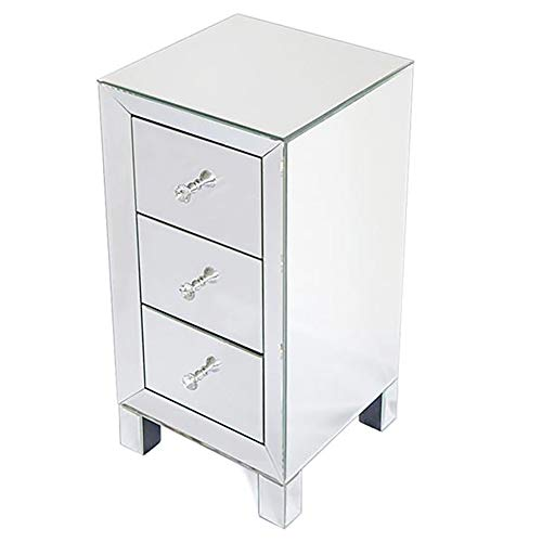 Cozywind Modern Mirror Three-Drawer Bedside Table Charm Style Mirror Three-Drawer Bedside Table Classic Mirror 3 Drawers with Storage Space