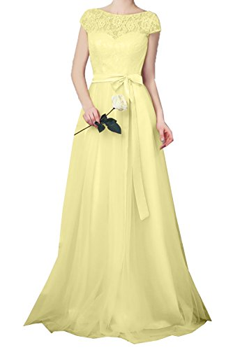 DressyMe Women's Lace Evening Dresses Sleeves A-Line Sash Party Gown-6-Daffodil ()