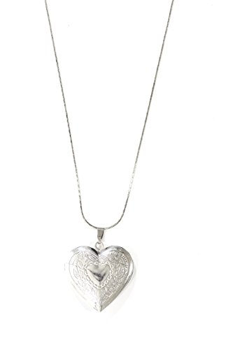 Magic Metal Floral Heart Locket Necklace Antique Silver Tone Etched Flower Pendant NO11 Fashion Jewelry