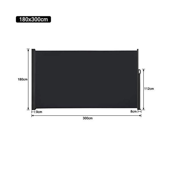 31kP1peY%2BnL HENGMEI 180x300cm Seitenmarkise Sonnenschutz Sichtschutz Windschutz Verschiedene Größen für Terrasse Camping Garden (180…