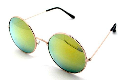 A116R Redondas Bom UV400 Dorado Espejo Sol Royo Hippie Gafas Sunglasses de Calidad Alta UqCavv