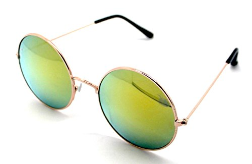 Espejo Alta A116R Redondas de Gafas Sol UV400 Dorado Hippie Bom Sunglasses Royo Calidad 6aT0wx