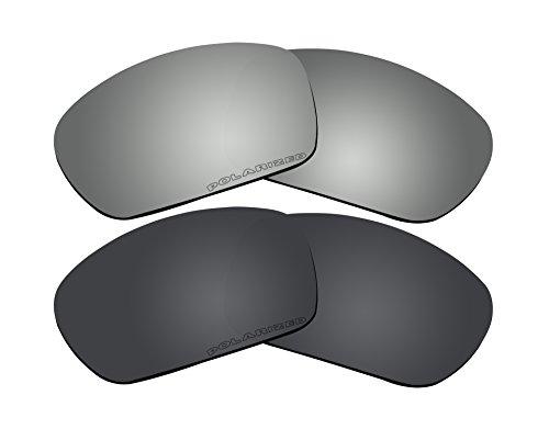 2 Pairs Polarized Lenses Replacement Black & Black Mirror for Oakley Scalpel - Oakley Scalpel