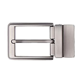 Prettyia Alloy Reversible Belt Buckle Replacement - Single Prong Rectangular Pin Belt Buckle - Fits 1.3-1.34 inch Wide Belts - Pearl Gray, as described