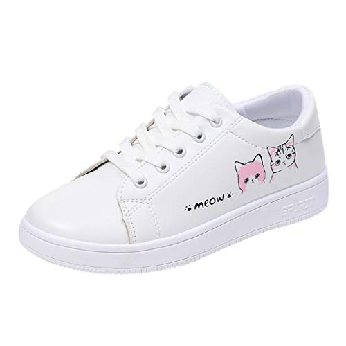 Toponly Student Sneaker Fashion White Wild Women' Casual Sport Shoes Lace-Up Cross-Strap Athletic Flats