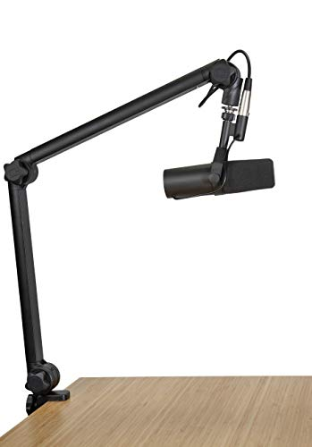 Gator Frameworks Deluxe Desk-Mounted Broadcast Microphone Boom Stand For Podcasts & Recording; Integrated XLR Cable (GFWBCBM3000)