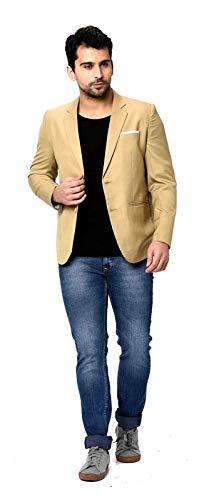 Beige Poly Viscose Slim Fit Casual Blazer for Men's
