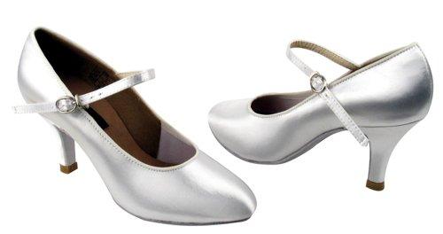 Chaussures Très Fines Dames Standard Et Lisse Concurrence Danseur Série Cd5024m 2.5 (satin Chair Ou Blanc Satin) (8.5, Satin Blanc)
