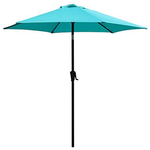 COBANA 7.5Ft Patio Garden Outdoor Market Umbrella with Tilt and Crank Turquoise