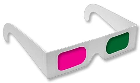 Anaglyph 3D Glasses Magenta/Green View 3D Movies Like Monsters Vs Aliens-Pack of 10 (Magenta Green)