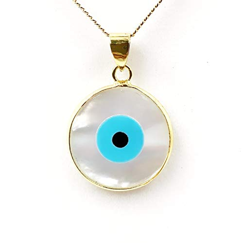 Gold Round Evil Eye Charm Necklace Mother of Pearl Pendant Lucky Jewelry for Women
