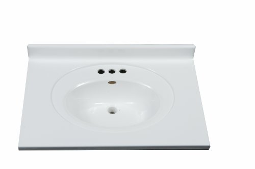 Imperial FRC2522SPW Bathroom Vanity Top with Recessed Center Oval Bowl, Solid White Gloss Finish, 25-Inch Wide by 22-Inch Deep