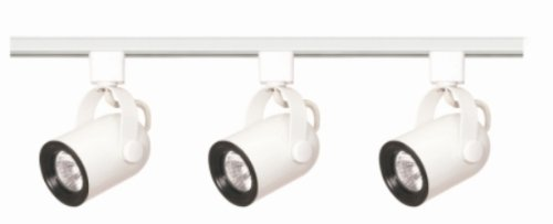 Nuvo Lighting TK348 3-Light Line Voltage 50-Watt MR16 GU10 Base, Round Back Track Light Kit, White - Round Back Cylinder Track Fixture