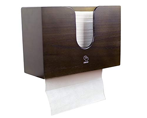 Bamboo Paper Towel Dispenser for Kitchen & Bathroom - Wall Mount/Countertop Multifold Paper Towels, C-Fold, Zfold, Tri fold Hand Towel Holder, Farmhouse Rustic Decor (Brown)
