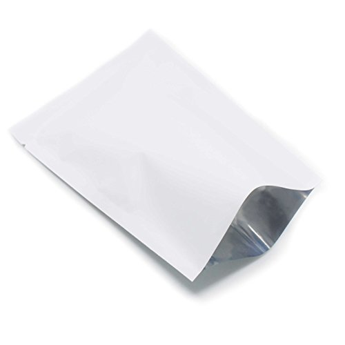 6x9cm (2.3''x3.5'') Matte Alufoil Green White Food Storage Packaging Pouches Mylar Scrub Aluminum Foil Open Top Matte Vacuum Bag Heat Seal (2800, White) by BAT Pack