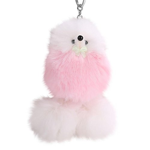 Key Chains, Hmlai 9cm Soft Faux Rabbit Fur Ball PomPom Cute Poodle Dod Giraffe Car Pendant Handbag Key Ring Chain (Pink)