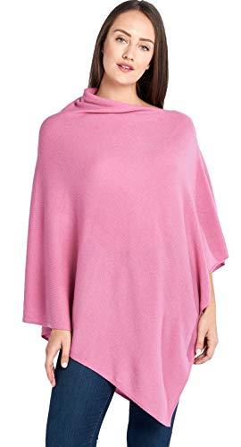 Mariyaab Women's 100% Cashmere Soft Travel Wrap Poncho Sweater(AC07PON, Cashmere SoftRose, L/XL)