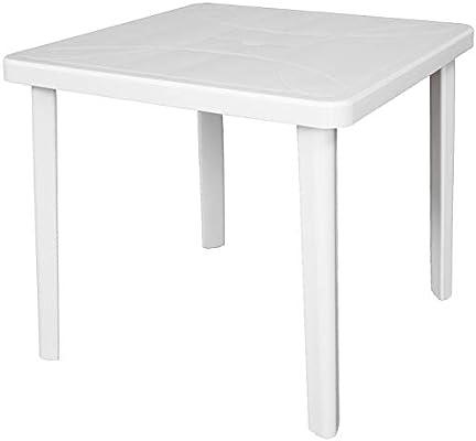 Mesa Mesa cuadrado 80 x 80 Neptune de dura resina de plástico blanco con agujero para sombrilla para exterior Casa balcón Bar Sagra de jardín: Amazon.es: Jardín