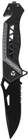 Smith & Wesson SW608BLS Faca dobrável de 21,5 cm de alto carbono com lâmina serrilhada de 8,5 cm e cabo de