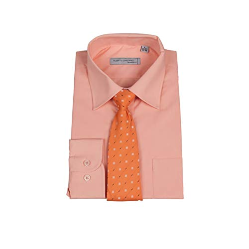 Alberto Cardinali Men's Long Sleeve Dress Shirt with Free Mystery Matching Tie Set (Peach, Large / 16-16.5