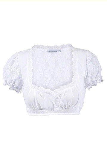 Trachtenbluse / Dirndlbluse für Damen in klassischer Form in Weiß Dirndelblusen in 1a Qualität und kombinierbar mit allen Farben