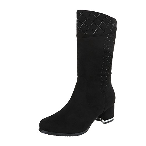Women's Boots Kitten Heel Classic Boots at Ital-Design Black g4HjX