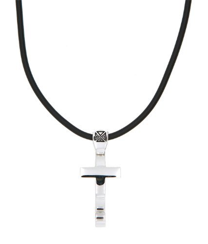 Sterling Silver Polished Symbol of Faith Large Christian Fish Cross Pendant with Black Rubber Cord (Small Fish Pendant)